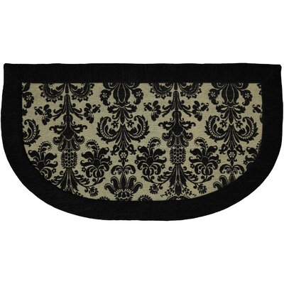 Imports Black Damask Border Rug