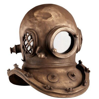 Design Toscano Replica Deep Sea Diver's Helmet in Antique Brass