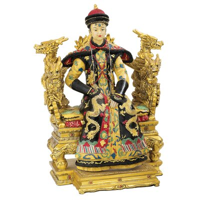 Chinese Empress on Dragon Throne Statue