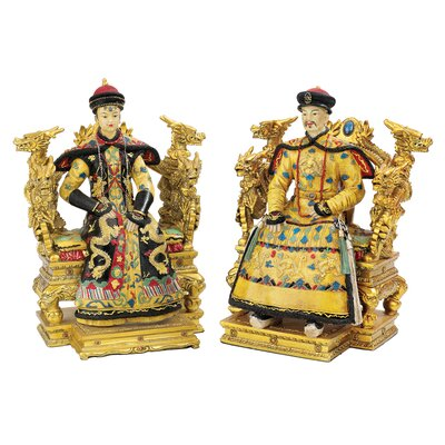 2-Piece Chinese Emperor and Empress on Dragon Throne Statue Set