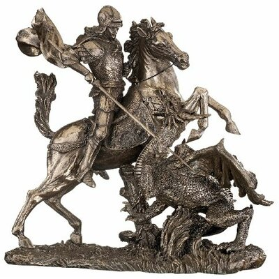 St. George Slaying the Dragon Sculpture in Faux Bronze
