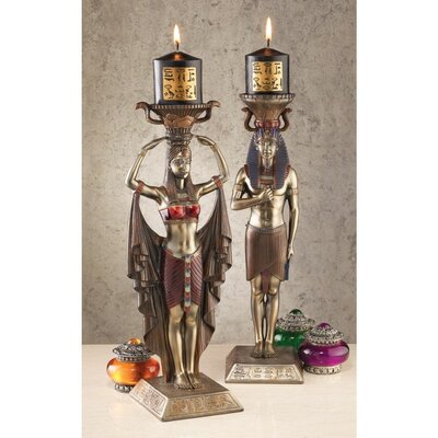 Design Toscano Egyptian Attendants to the Gods Sculptural Candlesticks (Set of 2)
