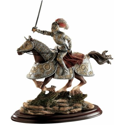 Medieval Charging Knight and Horse Sculpture