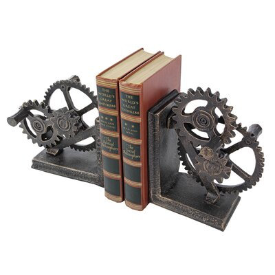 Design Toscano Industrial Gear Sculptural Iron Bookend
