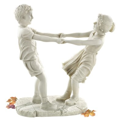 Little Girl and Boy Dancing Garden Statue
