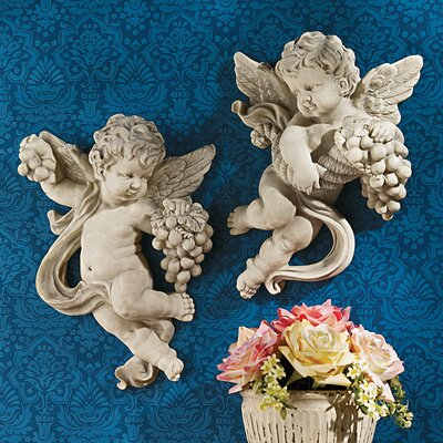 Design Toscano Cherub Harvest Wall Sculptures (Set of 2)