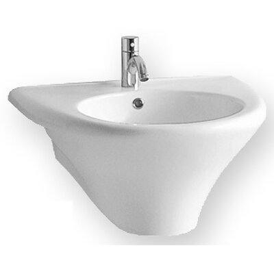 Whitehaus Collection China Wall Mount U-Shaped Bath Basin with Integrated Round Bowl