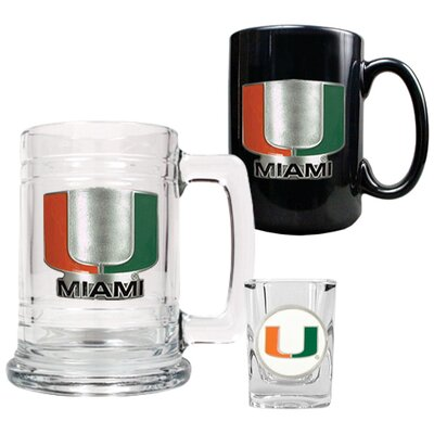Great American Products NCAA 15oz Tankard, 15oz Ceramic Mug and 2oz Shot Glass Set - Primary Logo