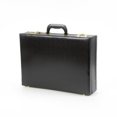 Expandable Simulated Leather Attache Briefcase in Black