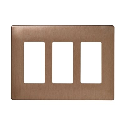 "Legrand 6.72"" Three Gang Decorator Screwless Wall Plate in Brushed bronze"