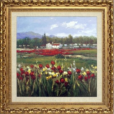 Red Flower Field Canvas Transfer Framed Print