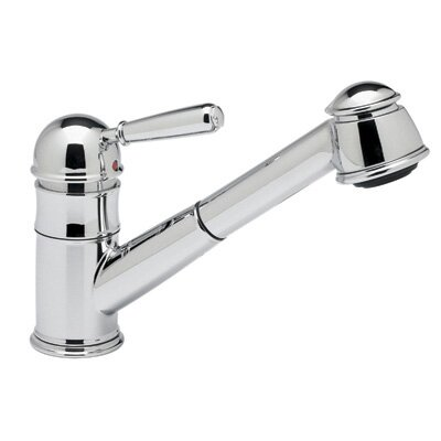 Pullout One Handle Single Hole Kitchen Faucet with Short Hand Spray Double Check Valve