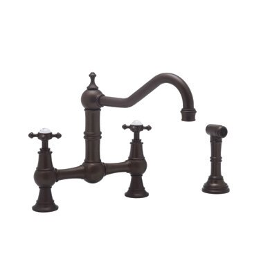 Perrin and Rowe Two Handle Widespread Bridge Faucet with Cross Handles and Hand Spray