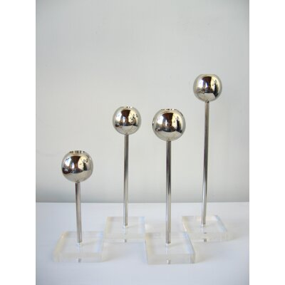 Boom Design OH Steel and Lucite Candelestick Holder