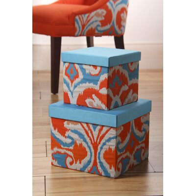 Sandy Wilson Ikat Square Applique Boxes (Set of 2)