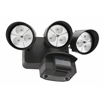 Lithonia Lighting Three Head LED Floodlight with Light Motion Sensor in Bronze