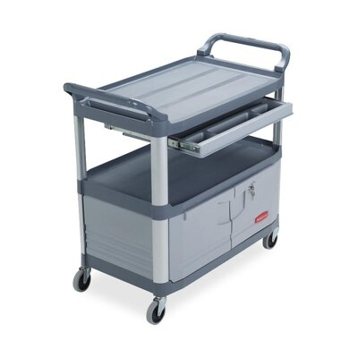 "Rubbermaid Commercial Products Instrument Cart,w/ Full Size Drawer, 40-3/5""x20""x37-4/5"", Gray"
