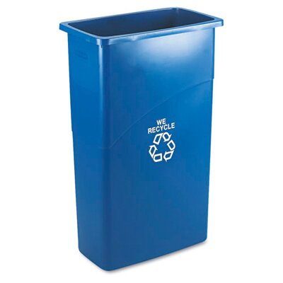 Rubbermaid Commercial Products Slim Jim Recycling with Handle in Blue