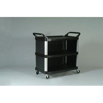 Rubbermaid Commercial Products Xtra Utility Cart with 3 Shelves in Black