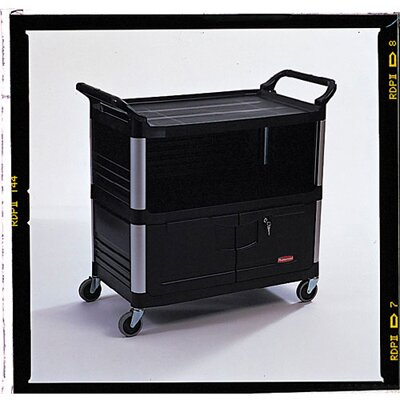 Rubbermaid Commercial Products Xtra Equipment Cart with 3 Shelves in Black