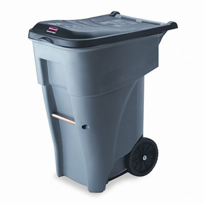 Rubbermaid Commercial Products Brute Rollout Waste Container, Square, Polyethylene, 65gal, Gray