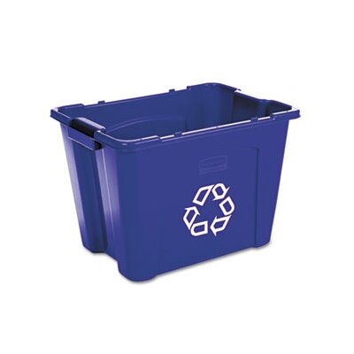 Rubbermaid Commercial Products Stacking Rectangular Recycle Bin, 14 Gal
