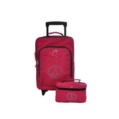 Obersee O3 Kids Bling Rhinestone Peace Luggage and Toiletry Bag Set