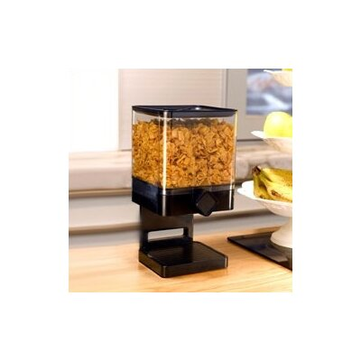 Zevro Single Compact Cereal Dispenser in Black with chrome knob