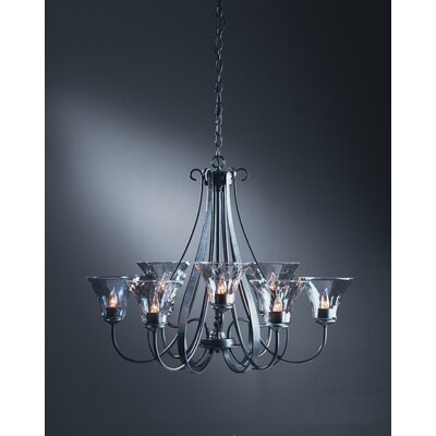 Hubbardton Forge 9 Light Chandelier with Water Glass Shade