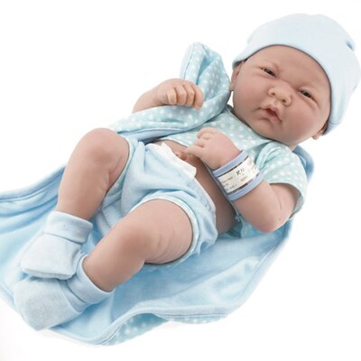 JC Toys La Newborn - 14&quot; Real Boy Vinyl Doll with Blue Outfit