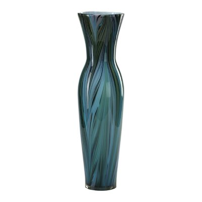 Tall Peacock Feather Vase in Multi-Colored Blue