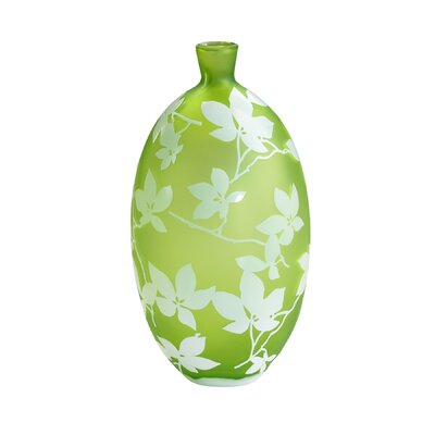 Large Blossom Vase in Green and White