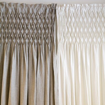 Pom Pom At Home Smocked Linen Rod Pocket Curtain Single Panel