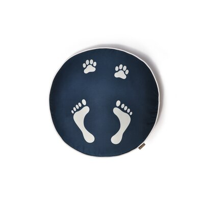 P.L.A.Y. Utopian Footprints Round Dog Bed in Steel Blue / Pearl