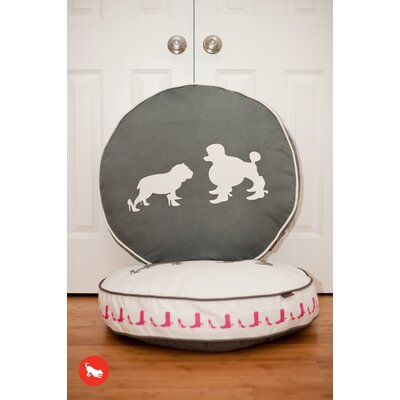 P.L.A.Y. Cosmopolitan Heels and Boots Round Dog Bed in Steel Grey / White