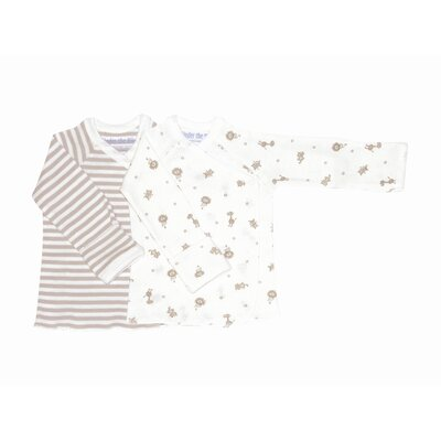 Under the Nile Nature's Nursery Long Sleeve Side Snap Shirt in Tan Stripes