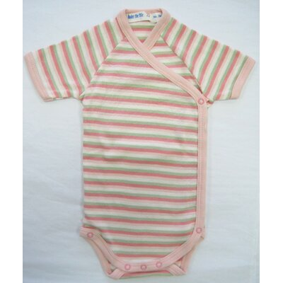 Under the Nile Twenty-Four Seven Short Sleeve Side Snap Babybody Baby Clothing in Pink Stripes