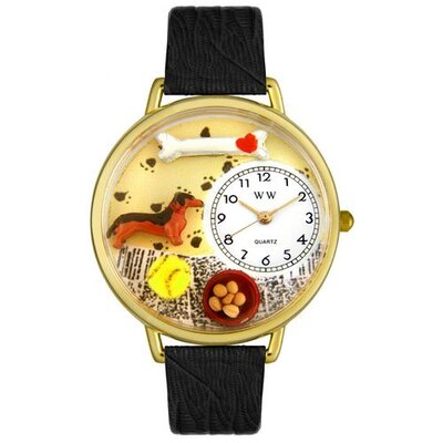 Whimsical Watches Unisex Dachshund Black Skin Leather and Goldtone Watch in Gold