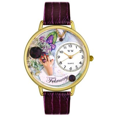 Whimsical Watches Unisex February Purple Leather and Goldtone Watch in Gold