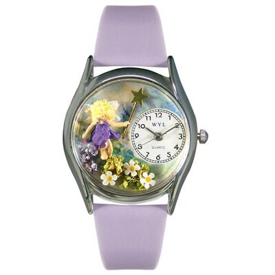 "Whimsical Watches Women""s Women""s Fairy Lavender Leather and Silvertone Watch in Silver"