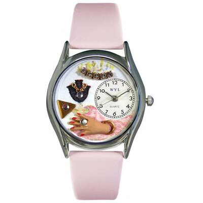 Whimsical Watches Women's Jewelry Lover Pink Leather and Silvertone Watch in Silver