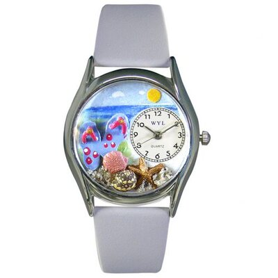 Whimsical Watches Women's Flip-flops bay Blue Leather and Silvertone Watch in Silver