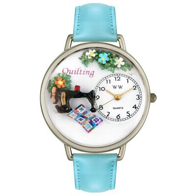 Unisex Quilting Baby Blue Leather and Silvertone Watch in Silver