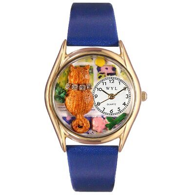 Women's Aristo Cat Royal Blue Leather and Gold Tone Watch