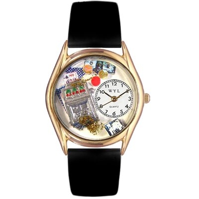 Whimsical Watches Women's Casino Black Leather and Gold Tone Watch