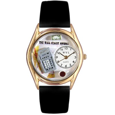 Women's Accountant Black Leather and Gold Tone Watch