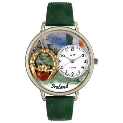 Whimsical Watches Unisex Ireland Hunter Green Leather and Silver Tone Watch