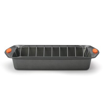 Rachael Ray Bakeware Roaster with V-Rack and Orange Handles