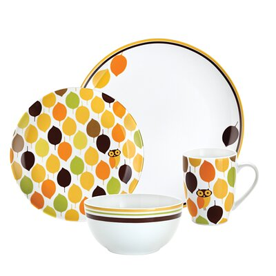 Rachael Ray Little Hoot 4 Pieces Dinnerware Set
