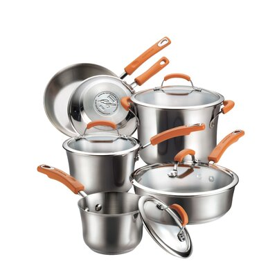 Rachael Ray Stainless Steel 10-Piece Set Cookware Set with Orange Handles
